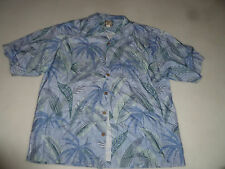 VINTAGE TOMMY BAHAMA HAWAIIAN PALM FROND LEAVES SILK BUTTON SHIRT MENS SIZE XL