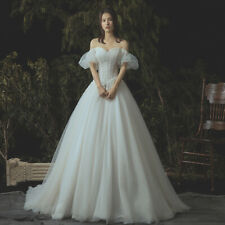puff sleeve wedding dress simple elegant lace tulle bridal gown princess style