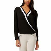 INC NEW Women's Black/ivory Colorblocked Faux-wrap Blouse Shirt Top 2 TEDO