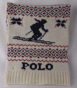 Polo Ralph Lauren Wool Cream Nordic Skier Blue Red Scarf NWT