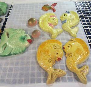 Vintage chalkware fish - variety