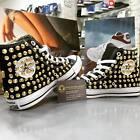 Scarpe Converse All Star Nere personalizzate con Borchie Oro teschio Oro clean