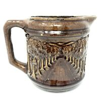 Antique Brush McCoy Pottery Pitcher Brown Woodland Avenue of Trees Milk Syrup