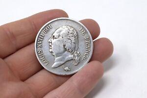 A French Antique Louis XVIII C1823 Solid Silver De France 5 Franc Coin #33900
