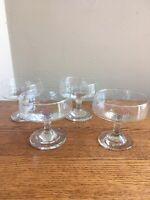 SET OF 4 Mid Century Modern 4-oz (1/2 cup) Flat Champagne (Parfait) Stem Glasses