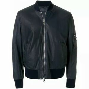 NEIL BARRETT Navy Zip Front Soft Leather Bomber Style Jacket L RRP: £1,795.00