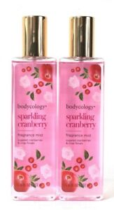 2 Bottles Bodycology 8 Oz Sparkling Cranberry Fragrance Mist Paraben Free