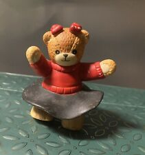 Enesco Lucy & Me Retro Girl Bear with Black Skirt & Red Bows Dancing Rare