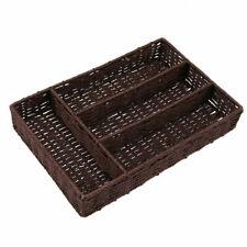 Vintage Woven Storage Basket Cosmetics Sundries Tableware Tabletop Organizer Box
