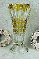 Vintage Bohemia Czech crystal glass yellow clear cut Vase 1950