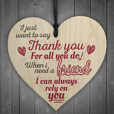Best Friend Friendship Thank You Love Gifts Wooden Hanging Heart Sign Plaque