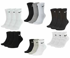 NIKE Socks 3 Pack Sports Logo Socks Pairs Men's Women's Cotton - Black - White