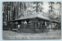 Santa Cruz, CA BIG TREE GROVE CLUB HOUSE c1920s REDWOODS ROADSIDE POSTCARD