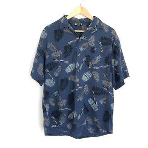 Montage Men's Vintage Hawaiian Shirt - Medium M - Short Sleeve - Blue - Floral