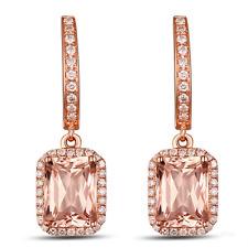 3.53ct 14K Rose Gold Natural America Morganite And Diamond Anniversary Earrings
