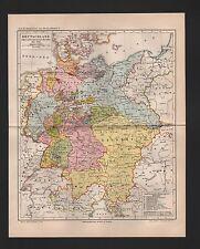 Landkarte map 1890: DEUTSCHLAND während des Deutschen Bundes. 1815-1866