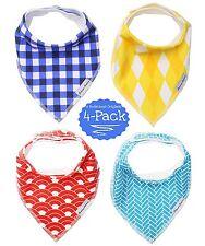 Baby Bandana Bibs 4-Pack | Dapper Drooling Drool Bibs | Adjustable Burp Cloths