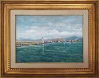 Dipinto olio su tela firmato Chiesi, Paesaggio Marina Porto di Livorno Nevicata