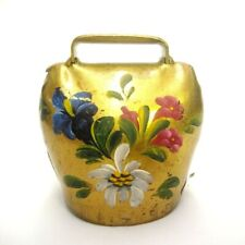 "LARGE HAND PAINTED FLOWERS BRASS COWBELL MADE IN SWITZERLAND 3.5"" TALL BELL"