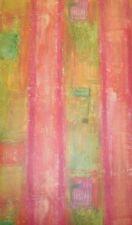 Bright Pink, Green, Yellow & Orange Faux Stripe Wallpaper by Seabrook  BB774