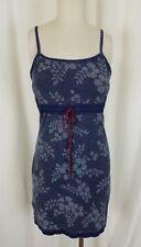 Floral Flowers Denim Blue Jean Wiggle Bodycon Summer Sundress Dress Womens S