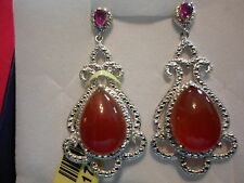 Red Agate Dangle Earrings w/Simulated Red Diamonds in Platinum Overlay-11.15 CTW
