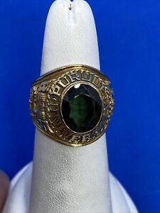 10K Yellow Gold & Green Stone Purdue University 1971 Class Ring Size 7