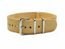 HNS ZULU HANDMADE NATURAL CALF LEATHER WATCH STRAP 3 POLISHED RING