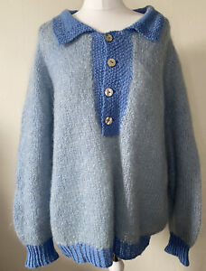 Vintage Home Knit Blue Mohair Button Front Jumper Size L Overside Handmade
