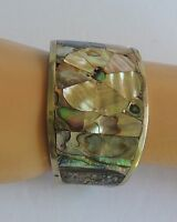 Hand Crafted ALPACA Inlaid Abalone Mother of Pearl Shell Silver Cuff Bracelet