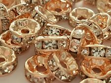 25 ROSE GOLD CLEAR RHINESTONE RONDELLE SPACER BEADS 8MM