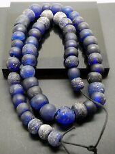 Antique Rare Cobalt  Blue European Smooth Trade Beads Strand -54 Pieces