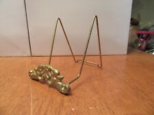 Vintage Brass Gold Wire Metal Plate Picture Book Art Holder Stand Shelf - EUC