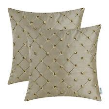 "2Pcs Taupe Diamonds Geometric Chain Cushion Cover Pillow Shell Sofa Decor 18x18"""