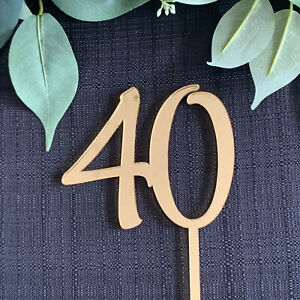 40, 40th, Forty, Birthday Cake Topper, Anniversary Topper, Mirror, ACRYLIC,