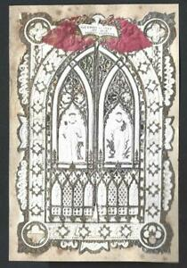 Y56 - VICTORIAN PAPER LACE VALENTINE CARD WITH OPENING CHURCH WINDOWS
