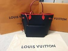 Louis Vuitton Authentic Neverfull MM Blue/Red Epi Leather Tote Handbag Brand new
