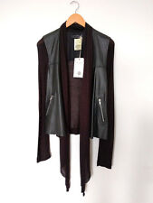 BNWT RELIGION Black Leather Sheer Waterfall Cardigan Light Jacket Small UK 8 10