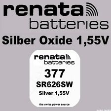 1x Renata Uhren Batterie Knopfzelle 377 SR626SW AG4 Silberoxid Neu Blisterware