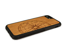 Handcrafted Wood iPhone 7 Case with Soft Rubber Sides by Nuwoods, Compass