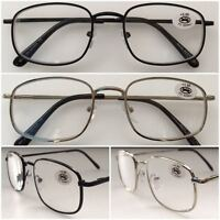 L454 Superb Quality Reading Glasses/Spring Hinge/Classic Large Metal Frame Style