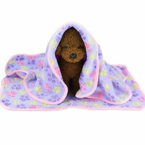 Soft Flannel Fleece Cat Dog Mat Warm Pet Blanket Sleeping Beds Cover Paw Print