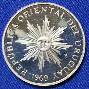 URUGUAY 5 PESOS 1969 SO PATTERN PROOF ONLY 50 WERE EVER MINTED. RARE.
