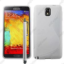 Housse Etui Coque Silicone S-line Gel Blanc Samsung Galaxy Note 3 N9000 + Stylet