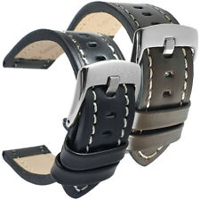 Black Brown High Quality Genuine Padded Calf Leather Watch Strap Sizes 18-24mm