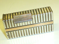 """FRENCH SOLID SILVER JEWELLERS """"CARTIER"""" ? LIGHTER W. GOLD STRIPES - 1940 -RARE"""