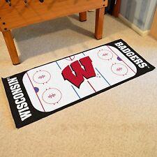 """Wisconsin Badgers 30"""" X 72"""" Hockey Rink Runner Area Rug Floor Mat"""