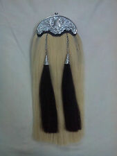 NEW ORIGINAL WHITE HORSE HAIR SPORRAN CELTIC THISTLE CANTLE/PIPER KILT SPORRAN