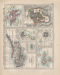 1902 VICTORIAN MAP ~ CYPRUS HONG KONG WRANGEL JERUSALEM ENVIRONS PEKING TOKIO