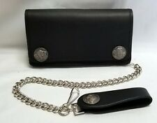 "Buffalo Nickel Black Leather Trucker Wallet 6"" x 3.5"" With 12"" Chain MADE IN USA"